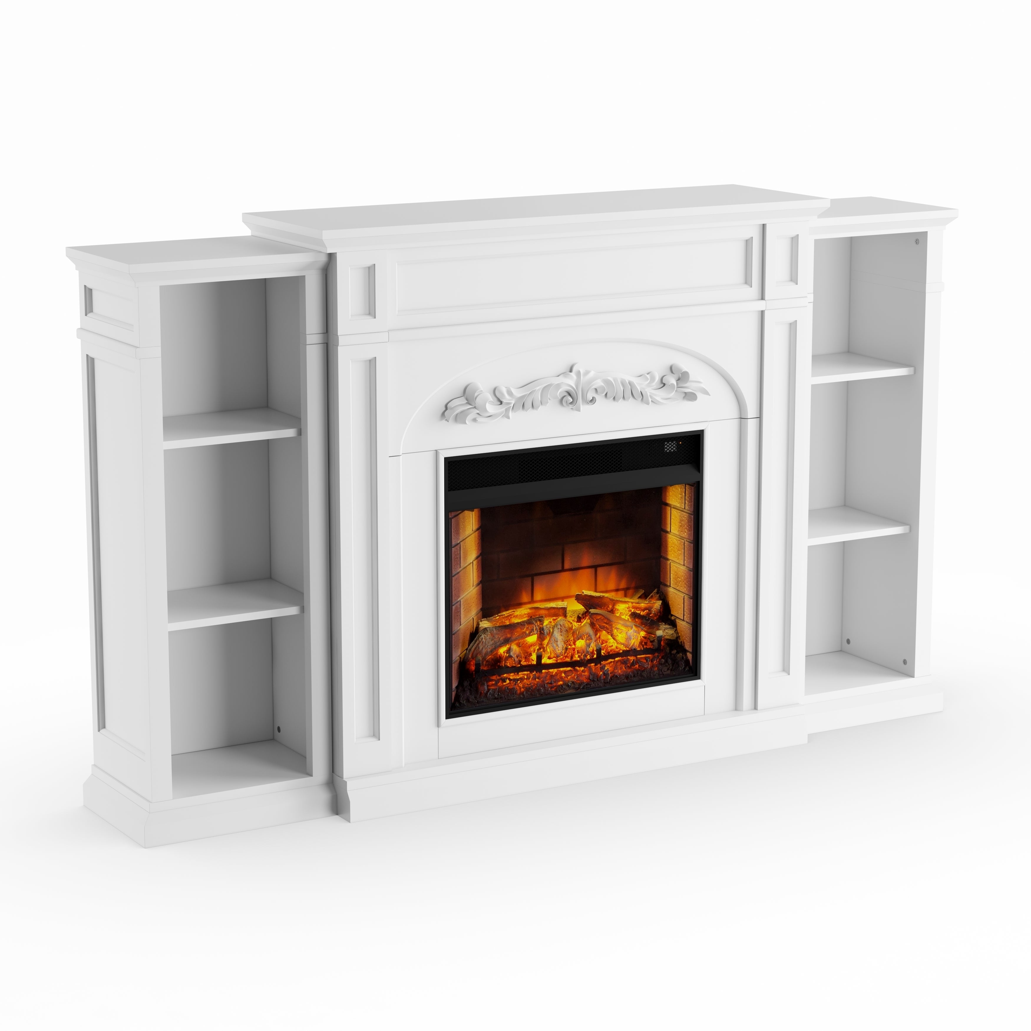 Copper Grove Mattie White Bookcase Electric Fireplace - N/A