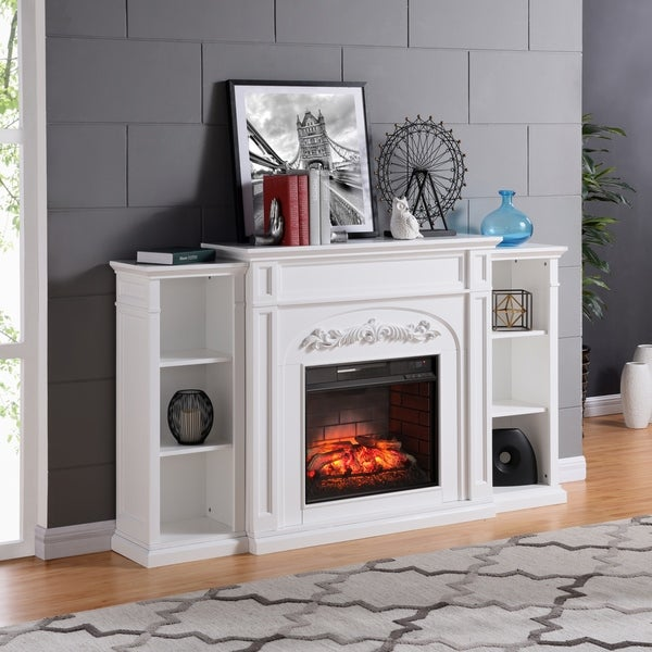Shop Copper Grove Mattie White Bookcase Infrared Electric Fireplace