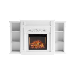 Copper Grove Mattie White Bookcase Infrared Electric Fireplace