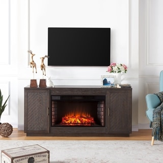 Strick & Bolton Sutton Espresso Wood 33-inch Widescreen Electric Fireplace TV Stand