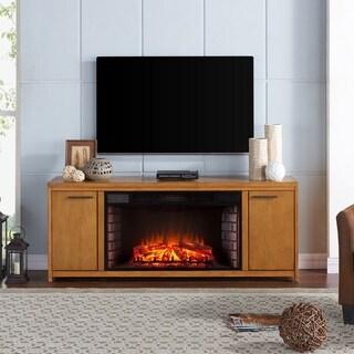Strick & Bolton Rui Oak Finish Engineered Wood/Birch Veneer/Rubberwood 33-inch Widescreen Electric Fireplace