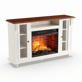 Shop Porch Den Harlan Antique White Media Console Fireplace On