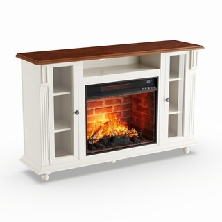 Copper Grove Whittaker Antique White Infrared Electric Fireplace TV Stand
