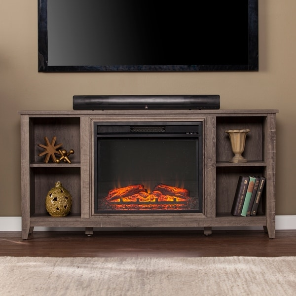 Porch & Den Haveford Mocha Gray Electric Fireplace TV Stand