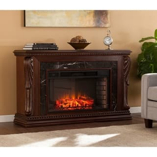Gracewood Hollow Dozier Natural Marble Carved Widescreen Electric Fireplace - N/A