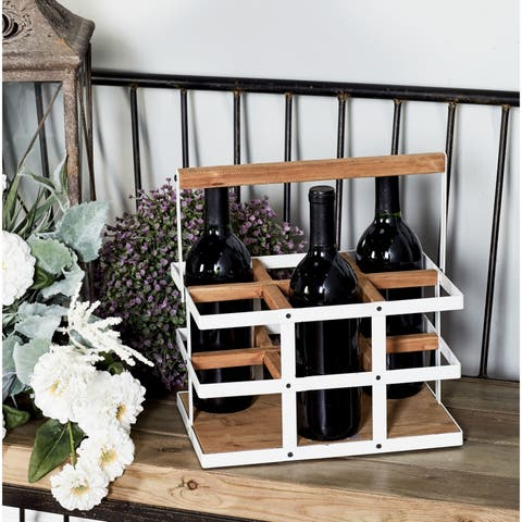 The Gray Barn Mistwood 6-bottle Wood and White Metal Wine Holder