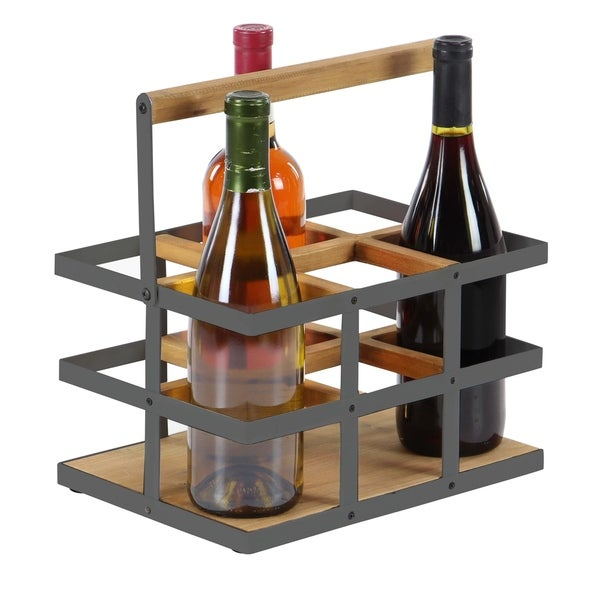 The Gray Barn Mistwood 6-bottle Wood and Iron Wine Rack