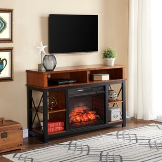 Carbon Loft Luella Black with Sienna Infrared Fireplace TV/Media Stand
