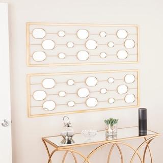 Carson Carrington Pandrup Gold Mirrored Wall Panels (Set of 2) - Metallic Gold - A/N