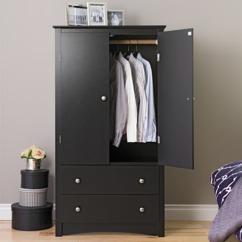 "Porch & Den Commerce Black 2-drawer Armoire - 31.5"" W x 58.75"" H x 22"" D"