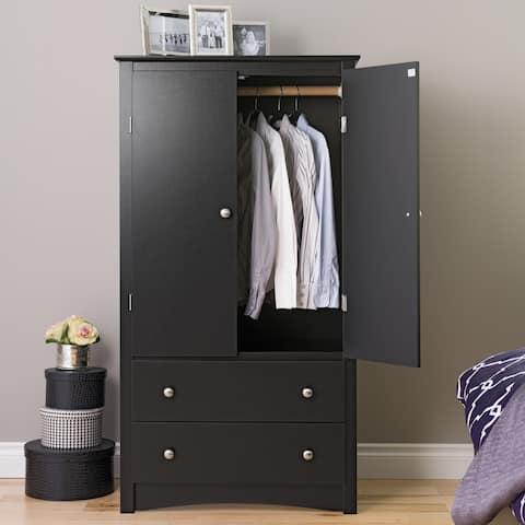 Porch & Den Commerce Black 2-drawer Armoire - 31.5 inch  W x 58.75 inch  H x 22 inch  D