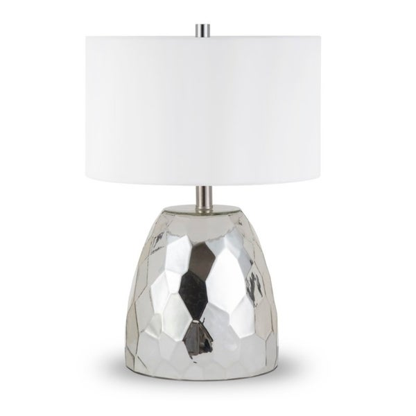 Sione table lamp in faceted chrome