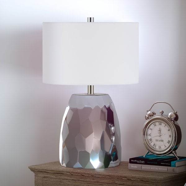 Sione Table Lamp in Faceted Silver Chrome Finish