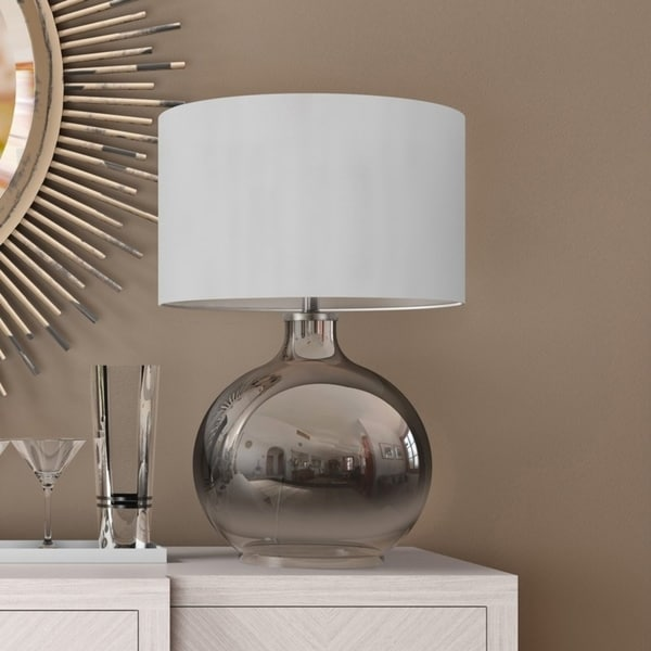 Lucia Luxe Table Lamp in Silver Ombre Plated Glass