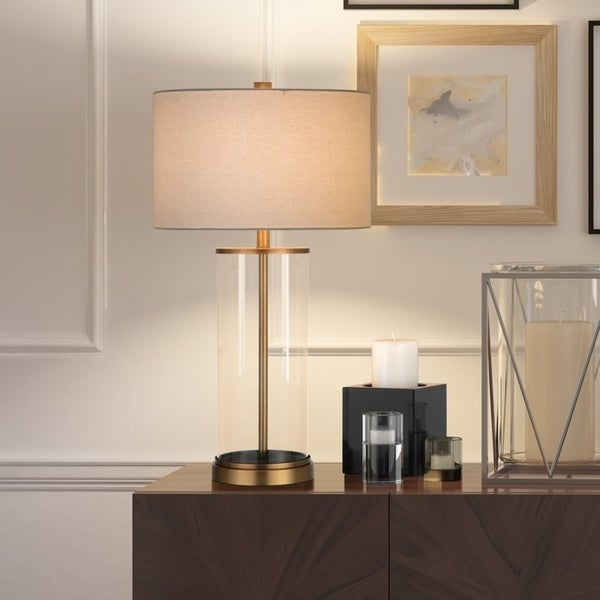 Reeves table lamp in glass and antique brass