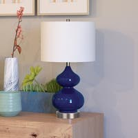 Katrin Glass Double Gourd Table Lamp in Navy Blue