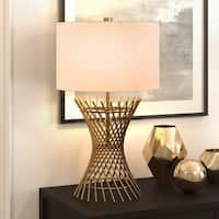 Owen Metal Table Lamp in Golden Antique Brass with Linen Shade