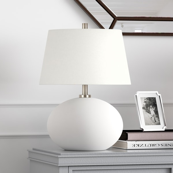 Reese table lamp in opaque white glass