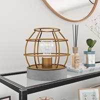 Kennet Table Lamp with Antique Golden Brass Cage and Concrete Pedestal Base