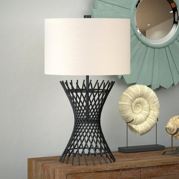 Owen Metal Table Lamp in Blackened Bronze with Linen Shade