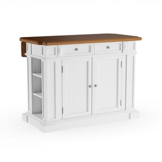 Copper Grove Cannington White Distressed Oak Kitchen Island