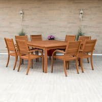 Havenside Home Tottenville 9-piece Eucalyptus Wood Square Dining Set