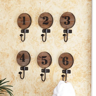 Carbon Loft Wozniak Old World Numbered Wooden Hooks (Set of 6)