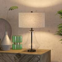 Leta table lamp in seeded glass with flax shade