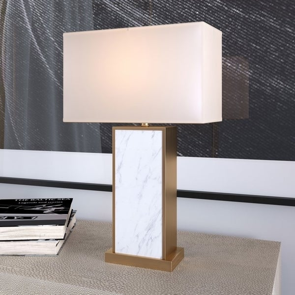 Forde table lamp with Carrara style marble and antique brass finish
