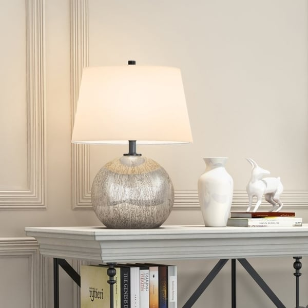 Ingrid Luxe Table Lamp in Mercury Glass with Linen Shade