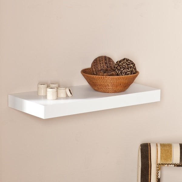 Shop Clay Alder Home HiLine 40inch White Floating Shelf On Sale New Cheap Floating Shelves Sale