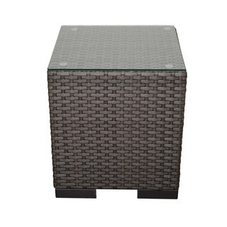 Havenside Home Lands End Grey Synthetic Wicker Side Table - 1 Table
