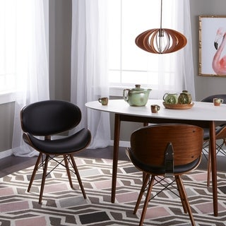 Corvus Madonna Mid-Century Walnut and Black Finish Accent Chair