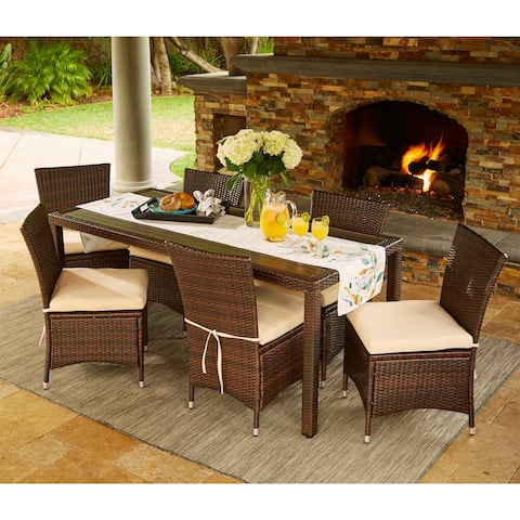 33b10a38d Havenside Home Stillwater Brown Indoor Outdoor 7-piece Rectangle Dining Set  with Beige Cushions