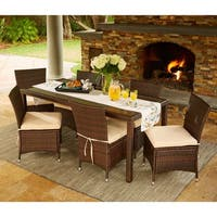 Havenside Home Stillwater Brown Indoor/Outdoor 7-piece Rectangle Dining Set with Beige Cushions