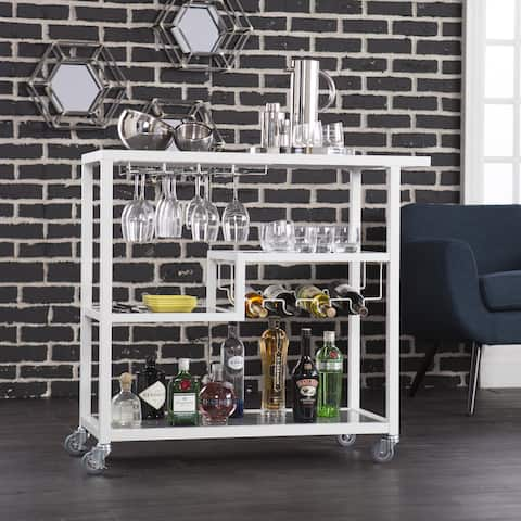 Carbon Loft Glenn White Metal Bar Cart