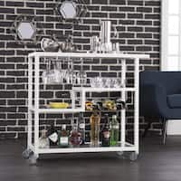Porch & Den RiNo Brighton White Metal Bar Cart