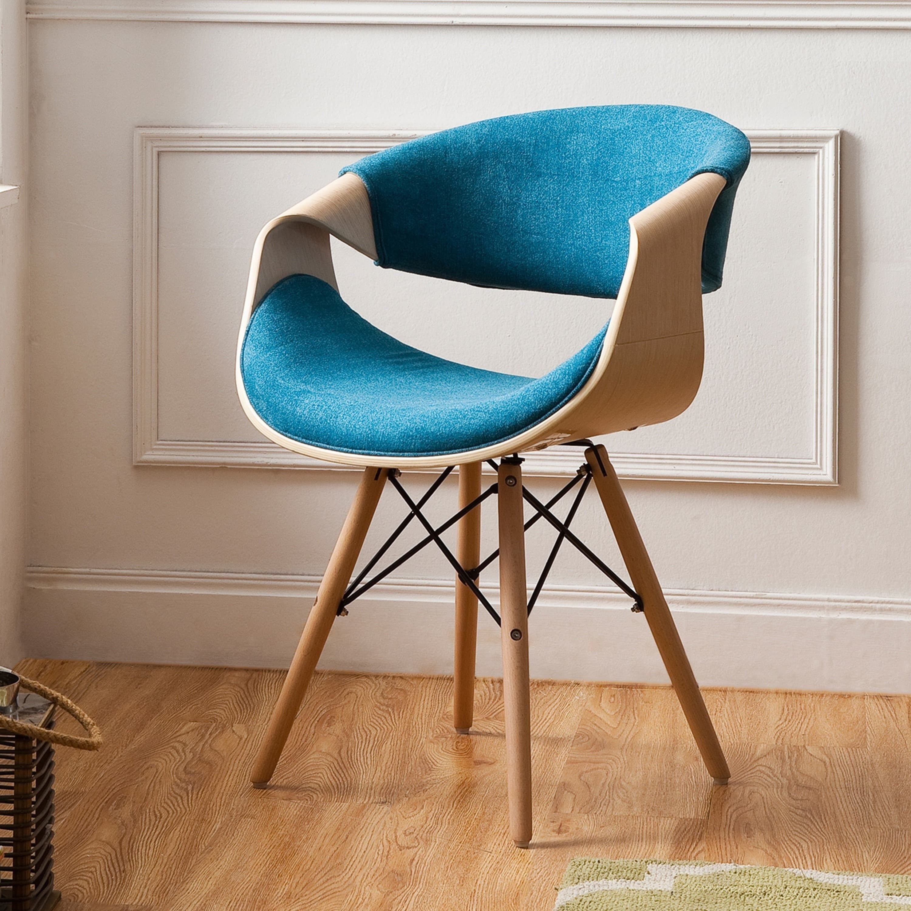Shop Corvus Adams Contemporary Teal Blue Accent Chair Free