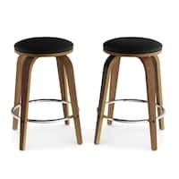 Carson Carrington Lerstad Counter Stool with Chrome Footrest (Set of 2)