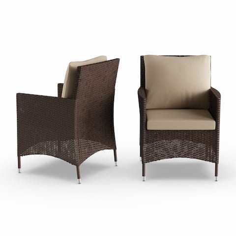 Stillwater Brown Indoor/Outdoor Arm Chairs with Beige Cushions (Set of 2) by Havenside Home