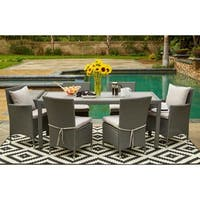 Havenside Home Stillwater Grey Indoor/Outdoor 7-piece Rectangle Dining Set with Grey Cushions