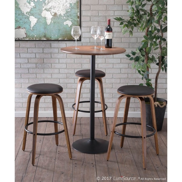 Carson Carrington Lerstad Mid-century Modern Wood and Faux Leather 30-inch Bar Stool (Set of 2)