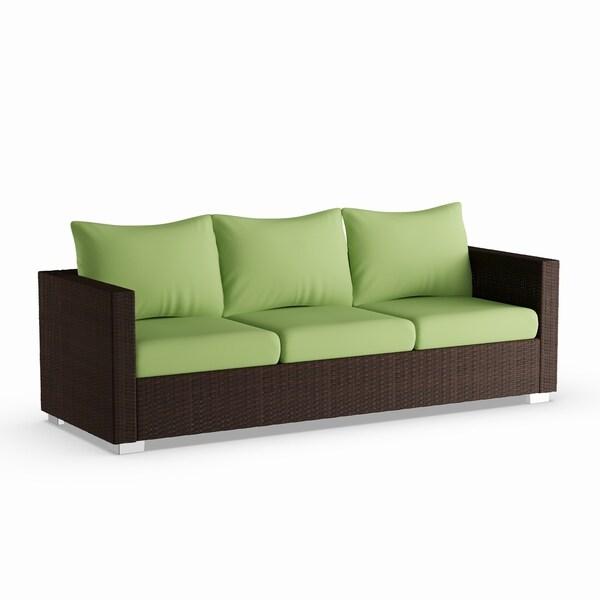 Handy Living Aldrich Indoor Outdoor Rattan Sofa With Cilantro Sunbrella Cushions