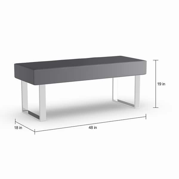 Swell Strick Bolton Natalia Grey Faux Leather Dining Bench Machost Co Dining Chair Design Ideas Machostcouk