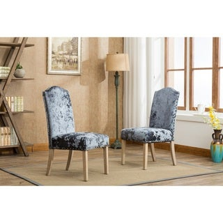 Silver Orchid Brent Solid Wood Nail head Ice Velvet Fabric Padded Parson Chairs Set of 2