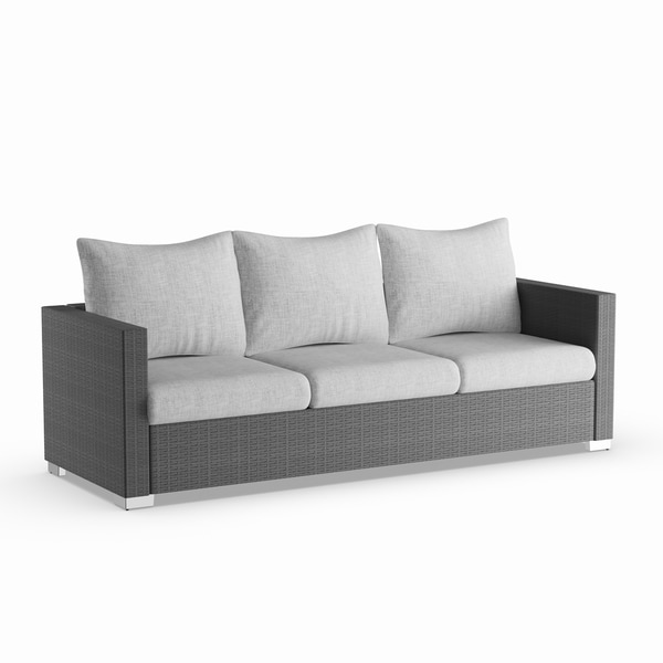 Havenside Home Stillwater Grey Rattan And Aluminum Outdoor Sofa With Taupe Cushions