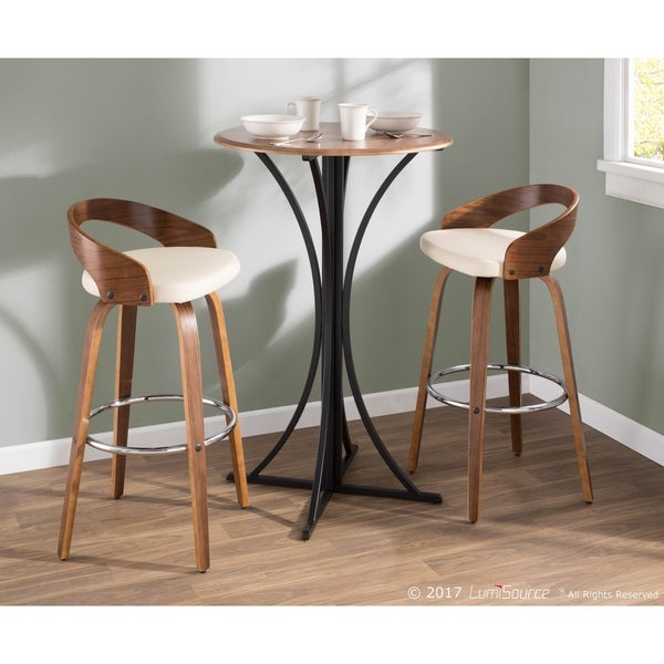 Palm Canyon Valencia Mid Century Modern Wood And Faux Leather Bar Stool