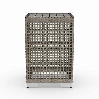 Havenside Home Plymouth Warm Grey 2-piece Resin Rattan End Tables