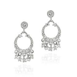 Icz Stonez Sterling Silver Cz Mini Chandelier Earrings