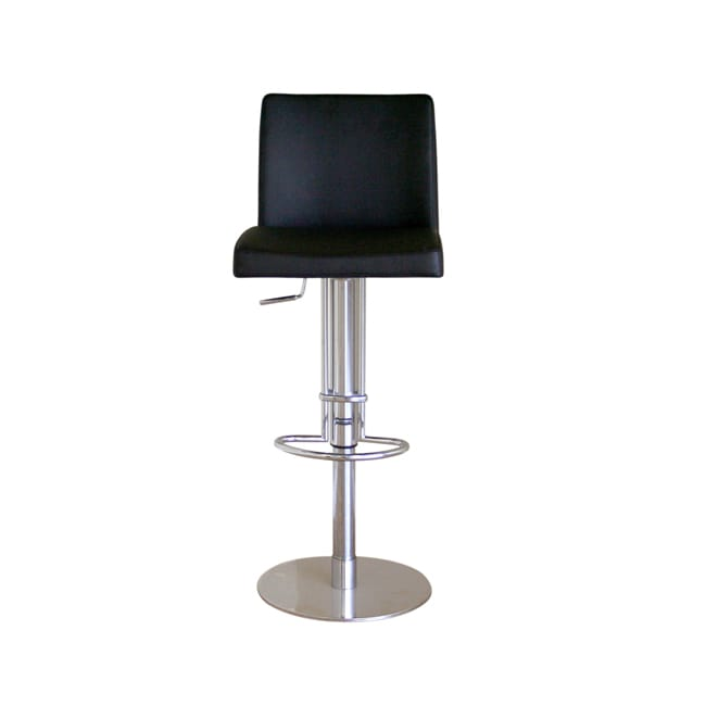 Glascow Black Leather Adjustable Barstool - Thumbnail 0